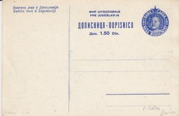"Yugoslavia 1947 ""Our Children"" Postal Stationery 1.50 Din Blue, Mint - Postal Stationery"