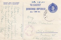 "Yugoslavia 1947 ""Our Children"" Postal Stationery 1.50 Din Blue, Used, Censored - Postal Stationery"