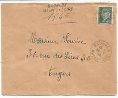 PETAIN 4FR50 LETTRE REC PROVISOIRE C. PERLE BAGNEUX MAINE ET LOIRE 24.5.44 - Postmark Collection (Covers)