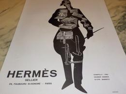 ANCIENNE PUBLICITE SELLIER HERMES 1928 - Vintage Clothes & Linen