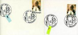2166 (visite Jean-Paul II En Belgique) Sur Lettres Avec 2 Cachets DIFFERENTS De Date Prévente (voir Scan & Descr) - Matasellos De Cortesía