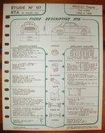 Fiche Descriptive RTA Etude 117 Renault Fregate - Voitures