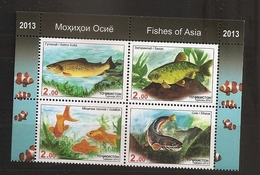 Tadjikistan Tajikistan 2013 N° 485 / 8 ** Poissons D'Asie, Saumon, Silure, Poisson Rouge, Clown, Sazan, Salmo Trutta - Tadjikistan
