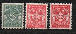 Franchise Militaire N°11, 12 Et 12a - FM Vert, Rouge Et Rouge Carminé Sans Valeur - Neufs - Franchise Stamps
