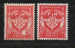 Yvert Franchise Militaire N° 12 Et 12b - Sans Valeur Rouge Et Rouge Carminé - Franchise Stamps