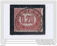 REGNO:  1875  SERVIZIO  -  0,20 C. LACCA  US. -  SASS. 3 - 1861-78 Vittorio Emanuele II