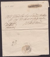 1834. ORBETELLO. MARCA ORBETELLO LINEAL ENCERRADO CARTUCHO. FRANQUICIA MNS. AL DORSO MARCA REMITENTE Y LLEGADA. - Italia