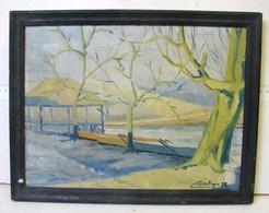PDGL. 49. HSP. Dernier Rayon Du Soleil Sur Le Lac Des 77 Fontaines De Derkyn 1932, Offert Au Président Paulissen - Oils