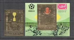 XX214 IMPERF YEMEN GOLD WORLD CUP 1970 FOOTBALL OVERPRINT BECKENBAUER ST+BL MNH - Fußball-Weltmeisterschaft