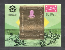 XX218 IMPERF YEMEN GOLD WORLD CUP MEXICO 1970 FOOTBALL OVERPRINT BORJA BL MNH - Fußball-Weltmeisterschaft