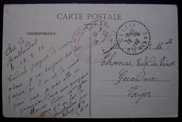 Fort De Montlandon 1916 , Cachet Rouge Du Dépôt Du 10e Bataillon De Chasseurs + Cachet Tireté Celsoy (Haute Marne) - Marcophilie (Lettres)