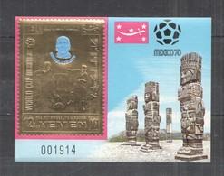 XX225 IMPERF YEMEN GOLD WORLD CUP MEXICO 1970 FOOTBALL OVERPRINT NORDAHL BL MNH - Fußball-Weltmeisterschaft