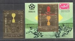 XX422 IMPERF YEMEN GOLD WORLD CUP MEXICO 1970 FOOTBALL OVERPRINT PELE ST+BL MNH - Fußball-Weltmeisterschaft