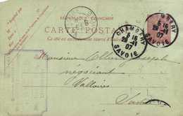 Entier Postal 10c  Cachet Mercerie En Gros Vve Gautier Chambery  Vers  Valloires RV - Chambery