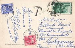 Taxe 1952 Carte Italie Taxée En France 6 Francs Timbre 5 Fr Et 1 Fr 2 Timbres Cuorgne Panorama Manifattura - Taxes