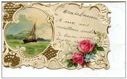 Bonne Année - Jolie  Mini Carte Relief Dentelée - Voilier - Nouvel An