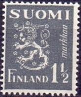 FINLAND 1940 1.50mk Grijs Leeuw Type II PF-MNH - Neufs