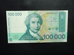 CROATIE : 100 000 DINARA   30.5.1993   P 27a    Presque NEUF * - Croatia