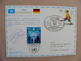 Sale! Post Card Carte Uno United Nations Mixed Post Stamps Wien Germany Blumberg 1994 Special Cancels Dirigable Airship - Centre International De Vienne