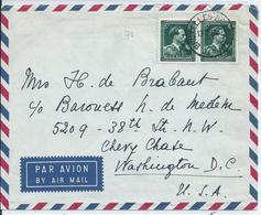 Luchtpostbrief Met OCB  696 (2x) Naar USA - 1936-1957 Offener Kragen