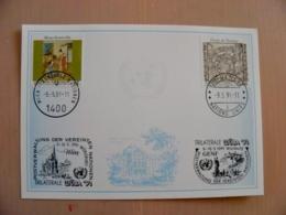 Sale! Post Card Uno United Nations Mixed Stamps Geneve Wien 1991 Special Cancels Wuba - Genf - Büro Der Vereinten Nationen