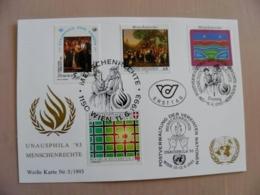 Sale! Post Card Uno United Nations Mixed Stamps Wien Austria Ukraine Special Cancels 1993 - Centre International De Vienne