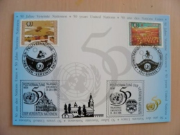 Sale! Post Card Uno United Nations Mixed Stamps Wien Geneve Special Cancels 1995 - Centre International De Vienne