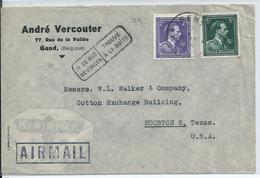 Luchtpostbrief Met OCB  693-696 Naar USA - Stempel IN DE BUS GEVONDEN - 1936-1957 Collo Aperto