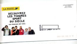 Lettre Affranchissement En Compte La Poste Timbres Sport + Depliant - Postmark Collection (Covers)