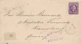 Nederlands Indië - 1890 - 25 Cent Willem III, Envelop G3 Van KR- En Puntstempel LABOEAN DELI Via Penang & Over Brindisi - Nederlands-Indië