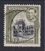 Cyprus: 1938/51   KGVI   SG160   18pi   Black & Olive-green   Used - Cyprus (...-1960)