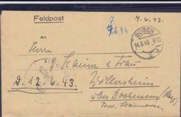 German Feldpost WW2: Unit Being Transported (auf D. Marsch) P/m Guben 14.6.1943 - Letter  Signed Russia  (G111-8) - Seconda Guerra Mondiale