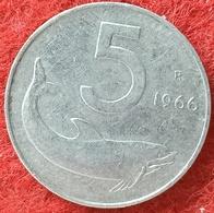 REPUBBLICA ITALIANA - 5 LIRE DELFINO  1966 CONSERVAZIONE SPL - 5 Lire
