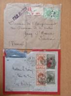 Madagascar - 2 Belles Enveloppes Vers France Dont Un Entier Poste Aérienne 4f50 1945 Et Un Recommandé Diego-Suarez - Madagascar (1889-1960)