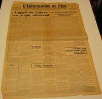 L'Information De L'Est Du 17 Septembre 1943.(Mussolini Est Délivré) - Revues & Journaux
