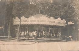 Carte Photo - Carrousel Galopant A Vapeur : Manege Propriétaire G. Marlier - Chevaux De Bois - Fete Foraine - Photos