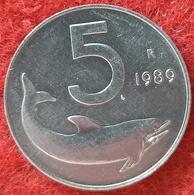 REPUBBLICA ITALIANA - 5 LIRE DELFINO  1989 CONSERVAZIONE FDC - 5 Lire