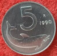 REPUBBLICA ITALIANA - 5 LIRE DELFINO  1990 CONSERVAZIONE FDC - 5 Lire