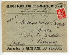 ENVELOPPE E. PHILIBERT Grande Distillerie De SAINT MARCELLIN ISERE - Postmark Collection (Covers)
