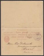 POSTKARTE NR 29 IV MIT ANTWORT-KARTE /  VON BASEL NACH REVAL RUSSLAND / 1896 - Enteros Postales