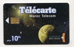 MAROC TELECARTE MAROC TELECOM Planète Terre Sur Fond D'étoiles Brillantes - Espace