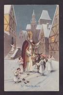 CPA Saint Nicolas Père Noël Santa Claus Nicolo Circulé Ane - Saint-Nicolas