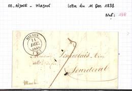 02 - AISNE - HIRSON - Lettre Du 11 Décembre 1838 - - 1801-1848: Precursors XIX