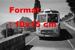 Reproduction D'une Photographie Ancienne D'un Post Bus à Lugano San Salvatore En Suisse En 1966 - Reproductions