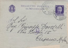 ITALIA - REGNO - MAGREGLIO (COMO) - INTERO POSTALE - BIGLIETTO POSTALE C. 50 - VIAGGIATO PER CUSANO MILANINO (MI) - 1900-44 Vittorio Emanuele III