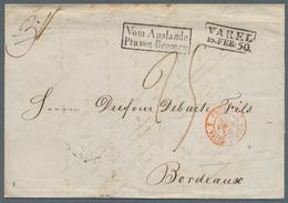 """Bremen - Stempel: 1850, """"Vom Auslande Pto. Von Bremen"""", Schwarzer Ra2 Sehr Klar Auf Komplettem Faltb - Bremen"""