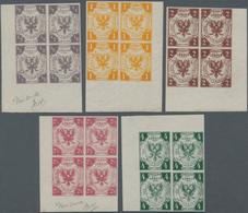Lübeck - Marken Und Briefe: 1859 Ausgabe Komplett Als NEUDRUCKE Einheitlich In ECKRANDVIERERBLOCKS L - Luebeck