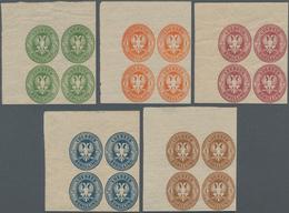 Lübeck - Marken Und Briefe: 1863 Ausgabe Komplett Als NEUDRUCKE Einheitlich In ECKRAND-VIERERBLOCKS - Luebeck