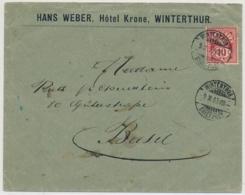 61B, Firmenbrief Hans Weber Hotel Krone WINTERTHUR Gelaufen Nach BASEL Mit AK Stempel - Covers & Documents