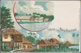 "Deutsch-Neuguinea - Ganzsachen: 1898, Gebrauchte Privatganzsachen-Litho-Karte ""Gruss Aus Neuguinea"" - Colonie: Nouvelle Guinée"